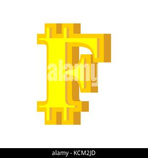 F letter bitcoin font. Cryptocurrency alphabet. Lettering virtual money. Vector illustration - Stock Photo