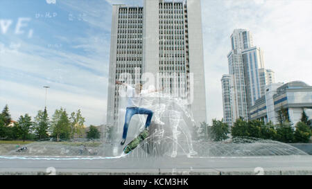 Skateboarder doing trick in mid air, grunge background with animation. Teen boy does tricks in the half pipe at - Stock Photo