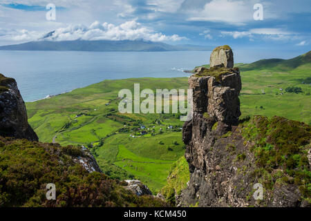 The Isle of Rum from the pinnacle of Bidean an Tighearna (God's Finger) on the western edge of the Beinn Bhuidhe - Stock Photo