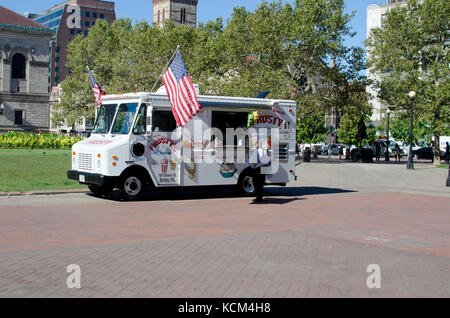 Ice cream food truck on Copley Square Back Bay Boston, MA USA on a clear blue sky summer day. - Stock Photo