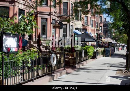 Outside dining restaurants along Newbury Street  scene Back Bay Boston, MA USA - Stock Photo