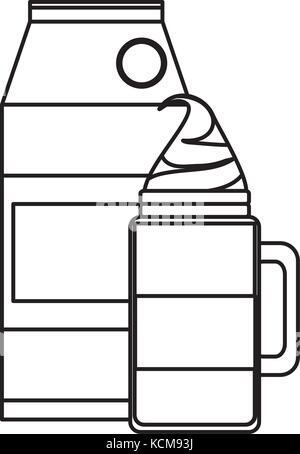 Flat Line Uncolored Iced Coffee And Milk Carton Over White Background Vector Illustration
