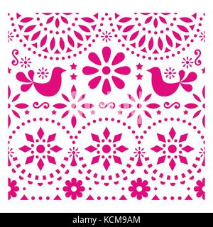 Mexican folk art vector pattern with birds and flowers, pink fiesta greeting card design inspired by traditional - Stock Photo