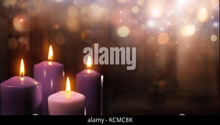 Advent Candles In Church - Three Purple And One Pink As A Catholic Symbol And Bokeh Lights - Stock Photo