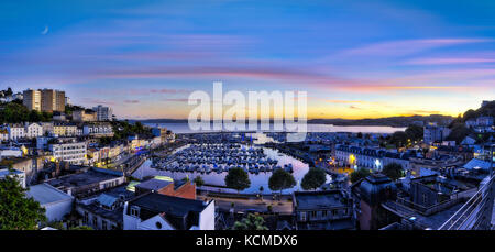 GB - DEVON: Panoramic view of Torquay Harbour and Town (HDR Image) - Stock Photo