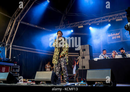 BARCELONA - JUN 18: Section Boyz (rap band) perform in concert at Sonar Festival on June 18, 2016 in Barcelona, - Stock Photo