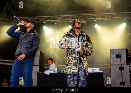 BARCELONA - JUN 18: Section Boyz (rap band) perform in concert at Sonar Festival on June 18, 2016 in Barcelona, - Stock Photo