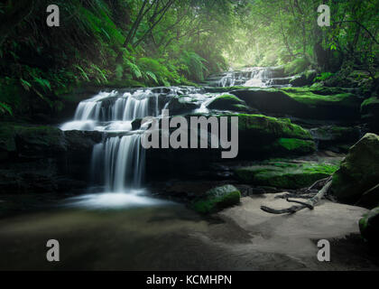 Smooth flowing water over rocks in the lush rainforest of Blue Mountains, Australia - Stock Photo