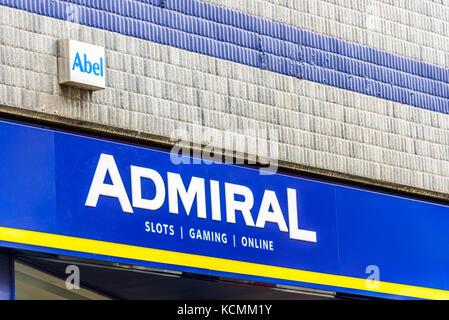 Northampton UK October 5, 2017: Admiral Slots Gaming Online logo sign in Northampton town centre. - Stock Photo