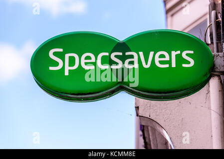 Northampton UK October 5, 2017: Specsavers logo sign in Northampton town centre. - Stock Photo