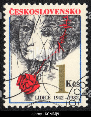 A postage stamp printed in CZECHOSLOVAKIA  shows concentration camp Lidice, circa 1982 - Stock Photo