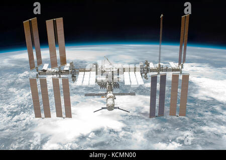 The International Space Station (ISS) photographed by a crew member on the space shuttle Endeavour (STS-134) on - Stock Photo