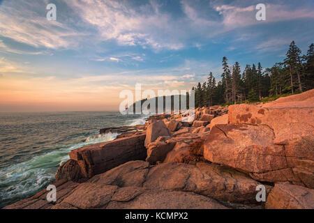 Sunrise on Mount Desert Isle in Maine. - Stock Photo