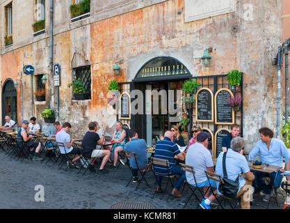 Sidewalk cafe on Piazza dei Coronari in the historic centre, Rome, Italy - Stock Photo