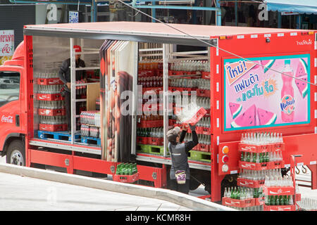 THAILAND, BANGKOK, MAY 04 2017, Coca-Cola delivery truck on street - Stock Photo