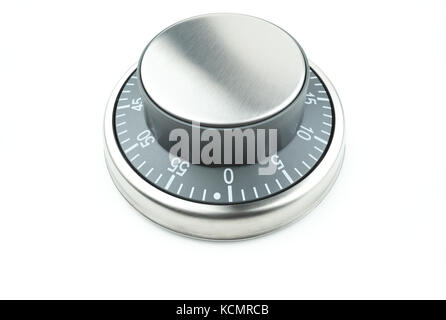 Chrome control knob / dial / button on a white background with text space. Potential use as a timer, thermostat - Stock Photo