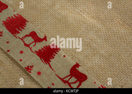 High angle close up of embroidered burlap - Stock Photo
