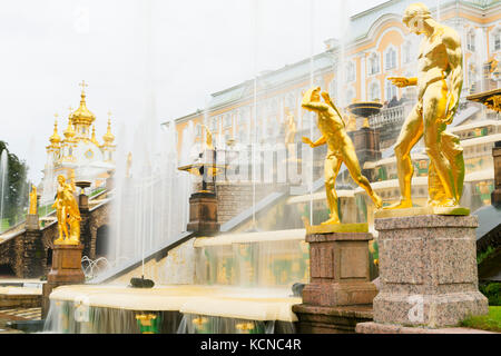 The Grand Cascade in front of the Grand Palace, Peterhof, near Saint Petersburg, Russia - Stock Photo