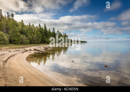Shores of Misery Bay in Misery Bay Provincial Park on Manitoulin Island, Ontario, Canada - Stock Photo