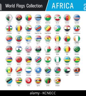Flags of Africa, inside round icons - Vector world flags collection - Stock Photo