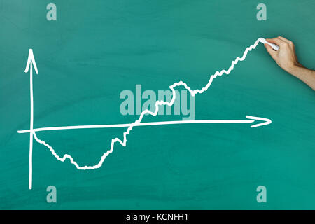 Hand holding chalk writing chart on green blackboard - Stock Photo