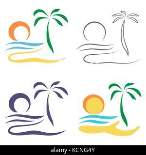 Abstract Palm tree on island.   Set of logo design isolated on white background. - Stock Photo