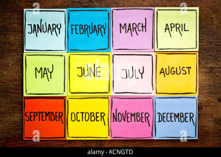 set of twelve months (January, February, March, April, May