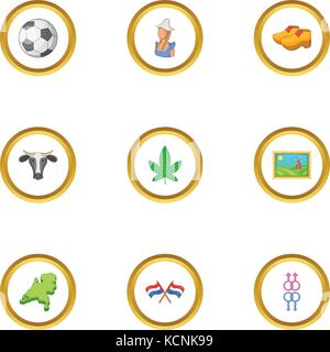 Holland icons set, cartoon style - Stock Photo