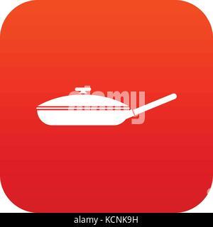 Black frying pan icon digital red - Stock Photo