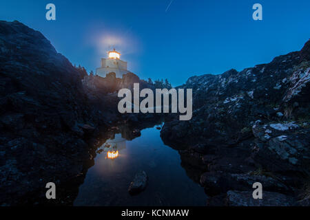 Amphrite Lighthouse in Ucluelet reflected in a tidal pool taken at night during a long exposure - Stock Photo