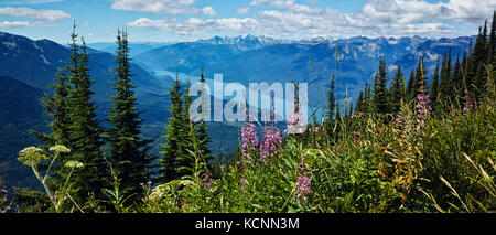 Slocan Lake from Idoho Peak above ghost town of Sandon,BC, Canada - Stock Photo