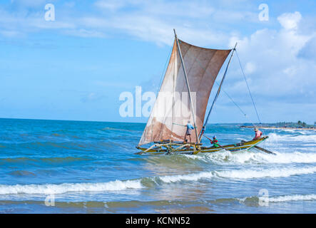 Sri Lankan traditional fishing catamarans in Negombo, Sri Lanka - Stock Photo