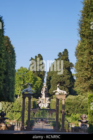 Gate with capricorns and harpys in Island Fountain Boboli Gardens Florence Tuscany Italy.