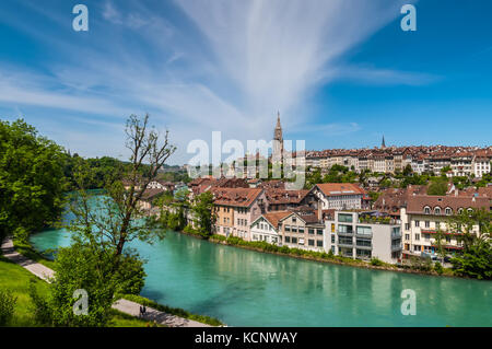 Bern, Switzerland - May 26, 2016: Panoramic view on the magnificent old town of Bern, capital of Switzerland. - Stock Photo