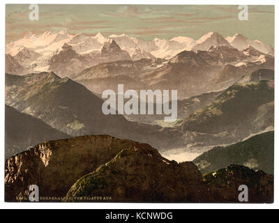 Bernese Alps, from Pilatus, Bernese Oberland, Switzerland LCCN2001701117 - Stock Photo