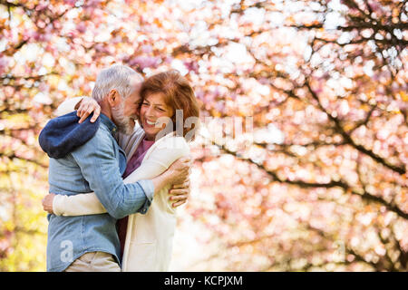 Beautiful senior couple in love outside in spring nature. - Stock Photo