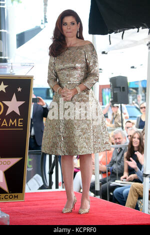 Hollywood, USA. 6th Oct, 2017. Debra Messing pictured as Debra Messing is honoured with star on the Walk Of Fameon - Stock Photo
