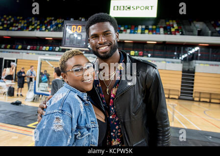London, UK. 06th Oct, 2017. Broderick Hunter attends the BBL London Lions vs Manchester Giants basketball today - Stock Photo