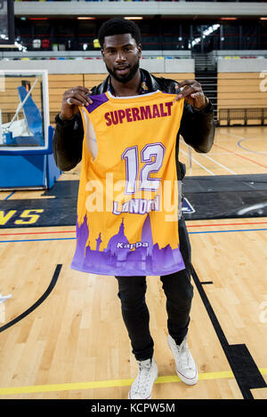 London, UK. 06th Oct, 2017. BBL: London Lions vs Manchester Giants at The Copper Box Arena Model Broderick Hunter - Stock Photo