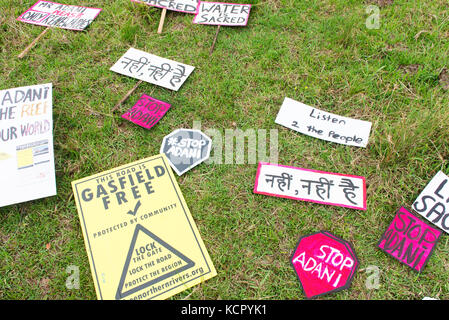 Nimbin, Australia. 7th October, 2017. Signs used at a protest against coal and Adani's Queensland Carmichael coal - Stock Photo