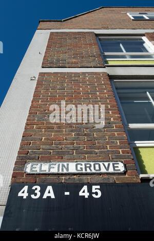 street name sign for elfin grove, teddington, middlesex, england - Stock Photo