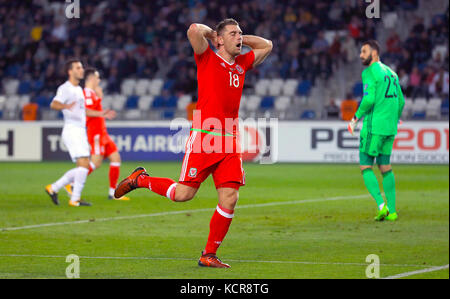 Wales' Sam Vokes rues a missed chance during the 2018 FIFA World Cup Qualifying, Group D match at the Boris Paichadze - Stock Photo