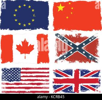 Set of shabby flags of Canada, China, Confederate army, European union,  Great britain and USA - Stock Photo