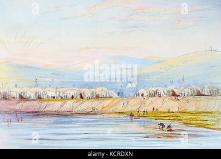 Arikara Village, (plate 80) from Illustrations of the manners, customs, and condition of the North American Indians. - Stock Photo