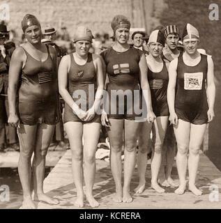 Ethelda Bleibtrey, Violet Walrond, Jane Gylling, Irene Guest, Frances Schroth, Constance Jeans 1920 - Stock Photo