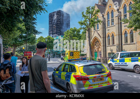 The Tragic Fire At The Grenfell Tower Block In North Kensington, London 14th June 2017. - Stock Photo