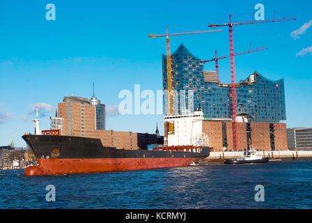 Hamburg Harbour and Elbe Philharmonic Hall - Stock Photo