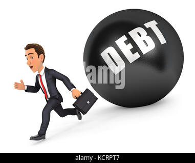 3d businessman running in front of debt, illustration with isolated white background - Stock Photo