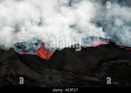 Holuhraun fissure eruption near Bardabunga volcano spewing lava in Iceland - Stock Photo