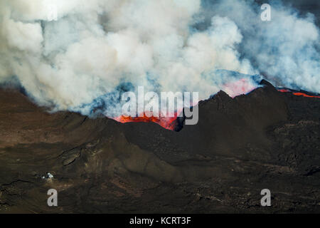 Holuhraun fissure eruption near Bardabunga volcano spewing lava in Iceland - Stock Photo